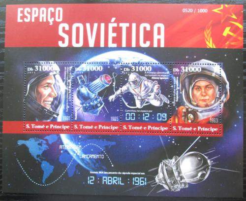 Poštovní známky Svatý Tomáš 2015 Sovìtský prùzkum vesmíru Mi# 6370-73 Kat 12€