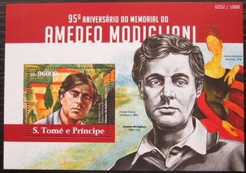 Poštovní známka Svatý Tomáš 2015 Umìní, Amedeo Modigliani Mi# Block 1102 Kat 10€1