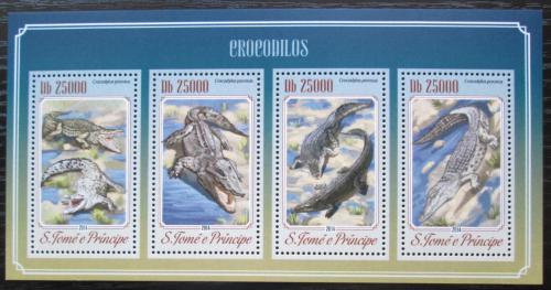 Poštovní známky Svatý Tomáš 2014 Krokodýli Mi# 5805-08 Kat 10€