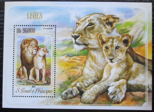 Poštovní známka Svatý Tomáš 2014 Lvi Mi# Block 1023 Kat 10€