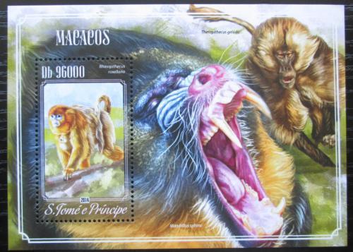 Poštovní známka Svatý Tomáš 2014 Opice Mi# Block 1025 Kat 10€
