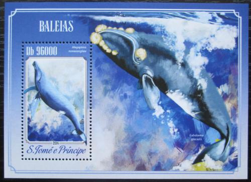 Poštovní známka Svatý Tomáš 2014 Velryby Mi# Block 1024 Kat 10€