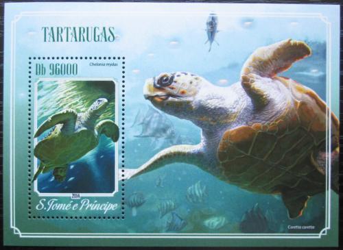 Poštovní známka Svatý Tomáš 2014 Želvy Mi# Block 1035 Kat 10€