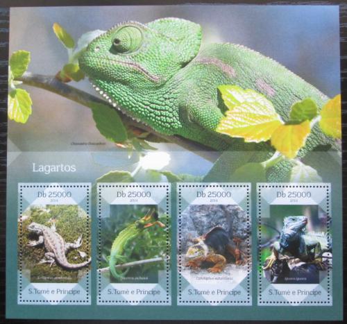 Poštovní známka Svatý Tomáš 2014 Ještìrky Mi# Block 994 Kat 10€