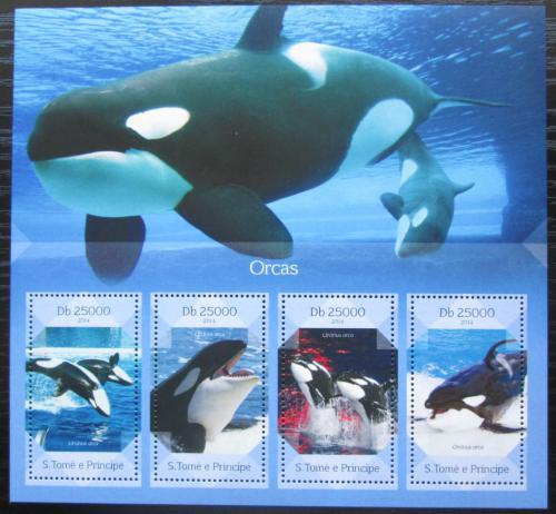 Poštovní známky Svatý Tomáš 2014 Kosatka dravá Mi# 5719-22 Kat 10€