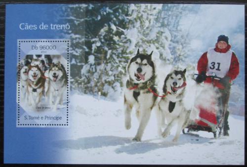 Poštovní známka Svatý Tomáš 2014 Tažní psi Mi# Block 1008 Kat 10€