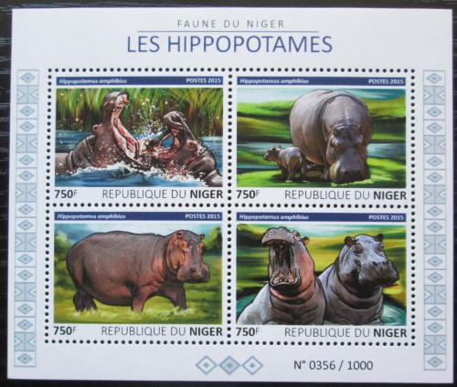 Poštovní známky Niger 2015 Hroši Mi# 3807-10 Kat 12€