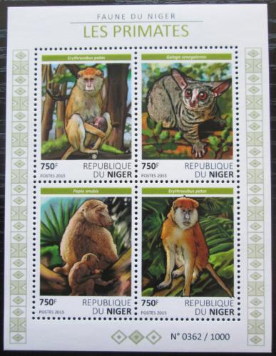 Poštovní známky Niger 2015 Primáti, opice Mi# 3843-46 Kat 12€
