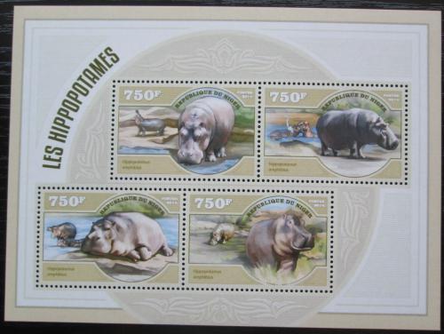 Poštovní známky Niger 2014 Hroši Mi# 3065-68 Kat 12€