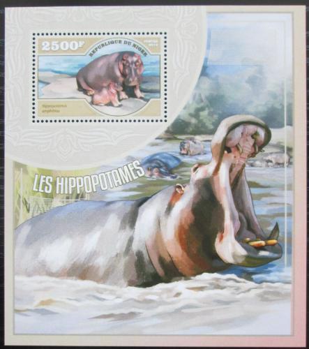 Poštovní známka Niger 2014 Hroši Mi# Block 357 Kat 10€