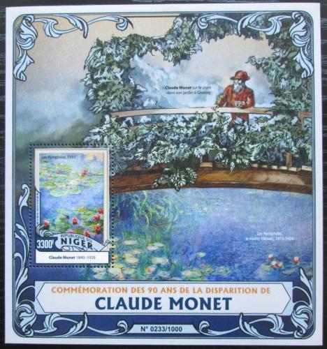 Poštovní známka Niger 2016 Umìní, Claude Monet Mi# Block 509 Kat 13€