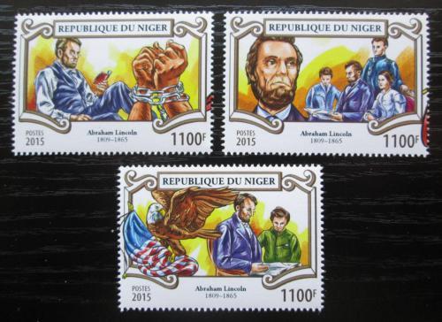 Poštovní známky Niger 2015 Abraham Lincoln Mi# Mi# 3558-60 Kat 13€