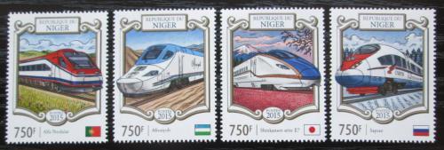 Poštovní známky Niger 2015 Moderní lokomotivy Mi# 3310-13 Kat 12€