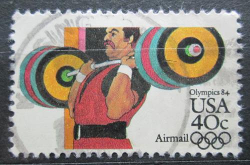 Poštovní známka USA 1983 LOH Los Angeles, vzpírání Mi# 1625 A