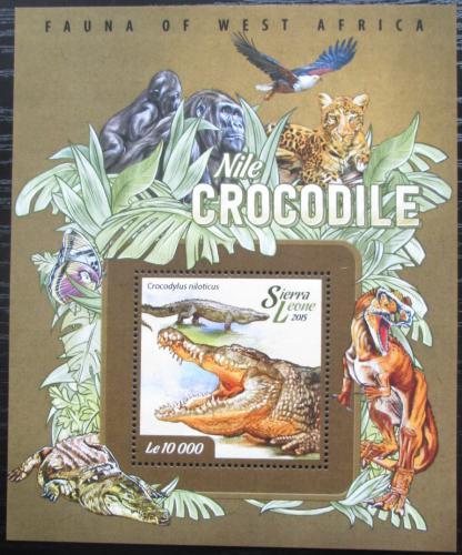 Poštovní známka Sierra Leone 2015 Krokodýl nilský Mi# Block 722