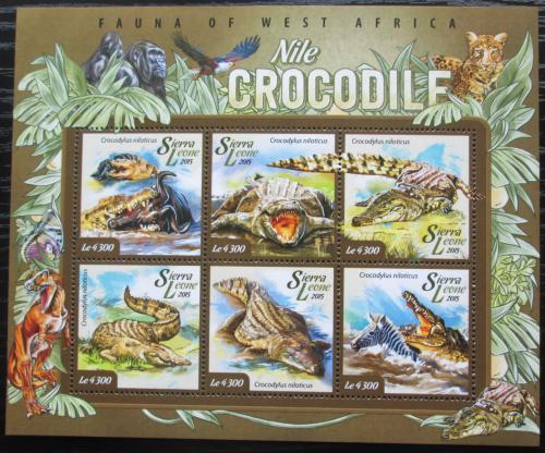 Poštovní známky Sierra Leone 2015 Krokodýl nilský Mi# 5970-75 Kat 11.50€