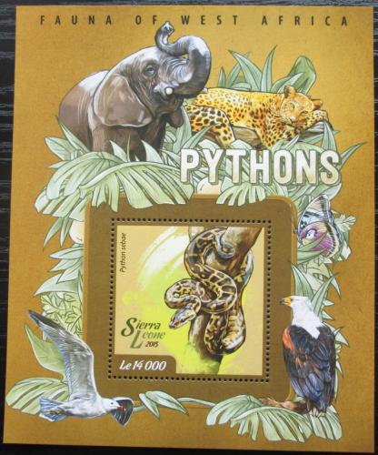 Poštovní známka Sierra Leone 2015 Krajta písmenková Mi# Block 725