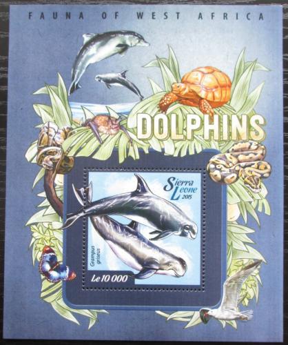 Poštovní známka Sierra Leone 2015 Delfíni Mi# Block 748