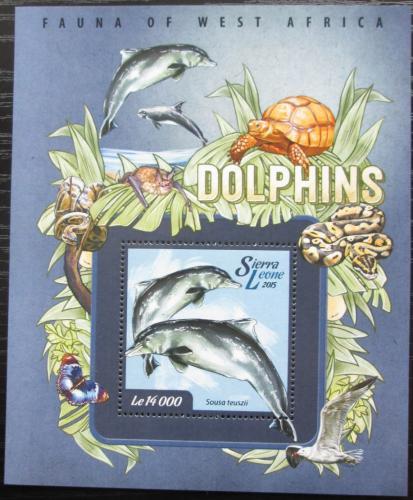 Poštovní známka Sierra Leone 2015 Delfíni Mi# Block 749