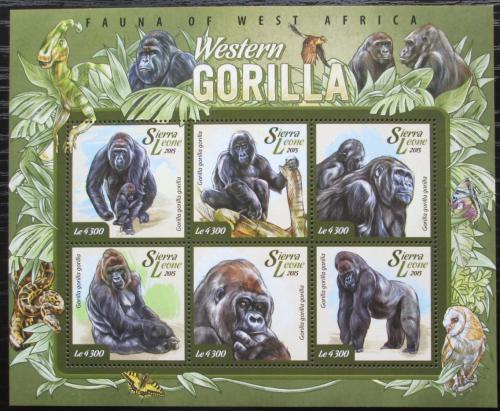 Poštovní známky Sierra Leone 2015 Gorila nížinná Mi# 6082-87 Kat 11.50€