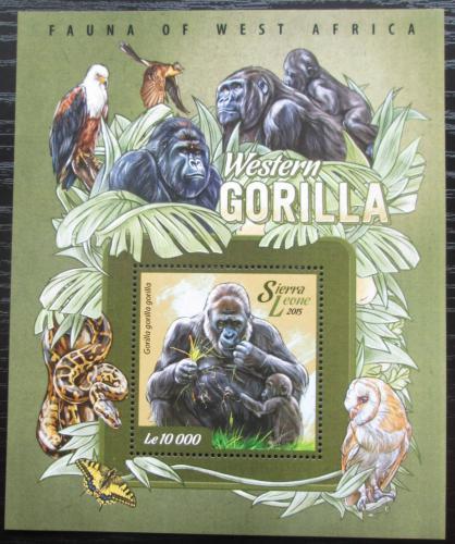 Poštovní známka Sierra Leone 2015 Gorila nížinná Mi# Block 750