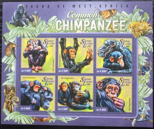 Poštovní známky Sierra Leone 2015 Šimpanzi Mi# 6090-95 Kat 11.50€