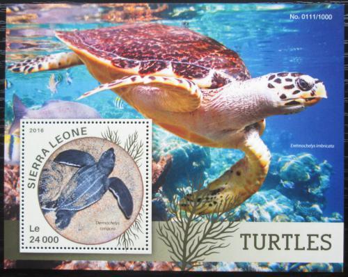 Poštovní známka Sierra Leone 2016 Želvy Mi# Block 897 Kat 11€
