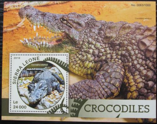 Poštovní známka Sierra Leone 2016 Krokodýl nilský Mi# Block 898 Kat 11€