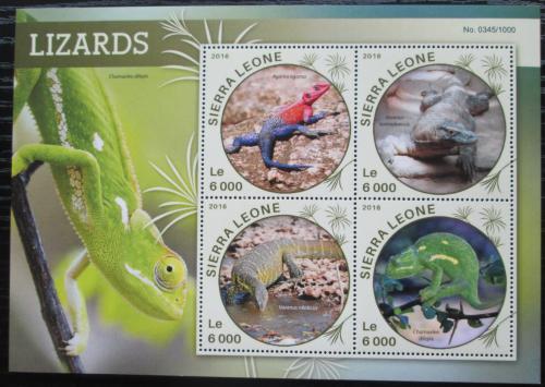 Poštovní známky Sierra Leone 2016 Ještìrky Mi# 6833-36 Kat 11€
