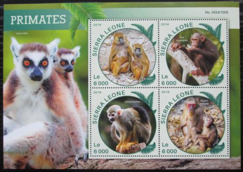 Poštovní známky Sierra Leone 2016 Opice Mi# 6908-11 Kat 11€