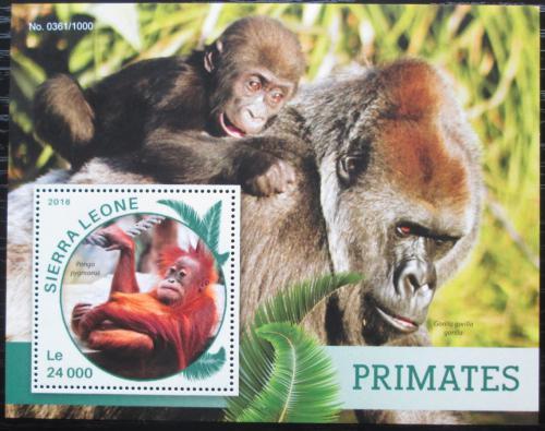 Poštovní známka Sierra Leone 2016 Opice Mi# Block 914 Kat 11€
