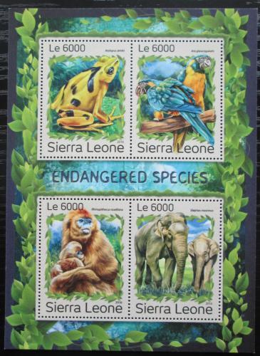 Poštovní známky Sierra Leone 2016 Ohrožené druhy Mi# 7953-56 Kat 11€