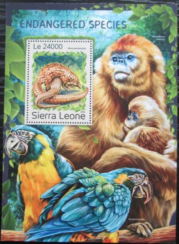 Poštovní známka Sierra Leone 2016 Ohrožené druhy Mi# Block 1123 Kat 11€