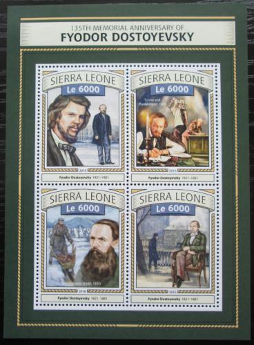 Poštovní známky Sierra Leone 2016 Fjodor M. Dostojevskij Mi# 7733-36 Kat 11€