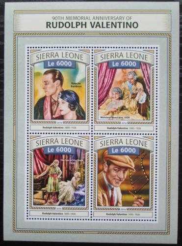 Poštovní známky Sierra Leone 2016 Rudolph Valentino, herec Mi# 7768-71 Kat 11€