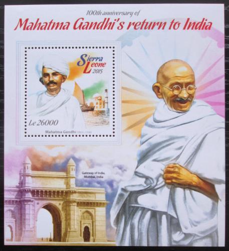 Poštovní známka Sierra Leone 2015 Mahátma Gándhí Mi# Block 768 Kat 11€