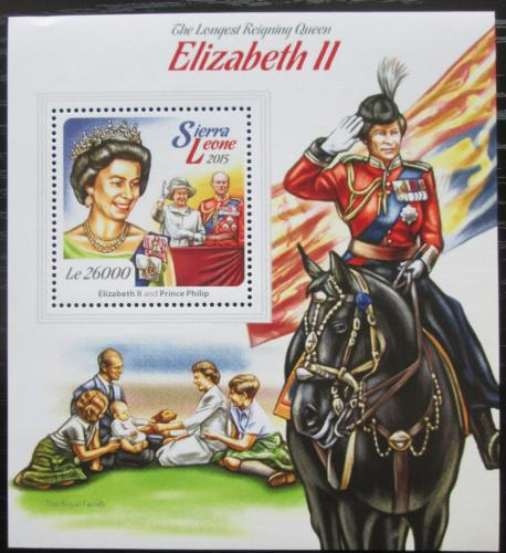Poštovní známka Sierra Leone 2015 Královna Alžbìta II. Mi# Block 773 Kat 12€