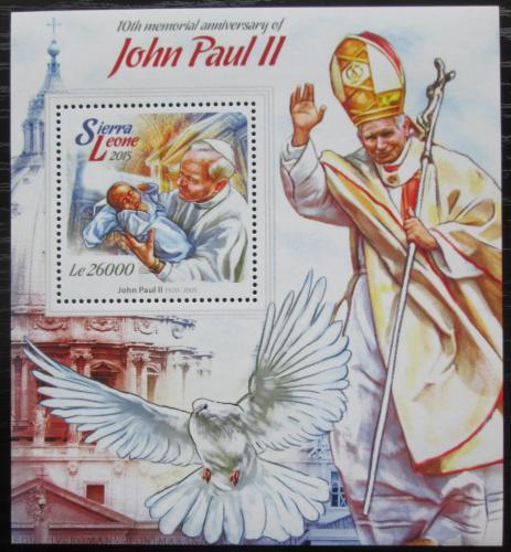Poštovní známka Sierra Leone 2015 Papež Jan Pavel II. Mi# Block 772 Kat 12€
