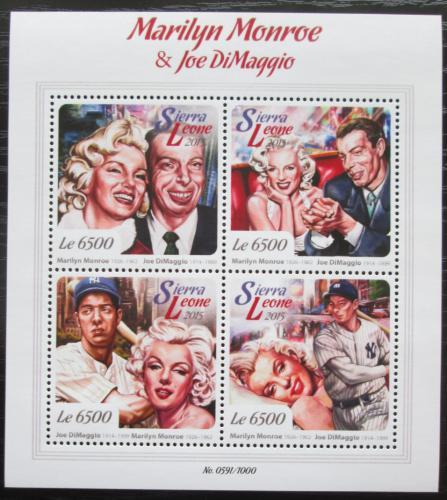 Poštovní známky Sierra Leone 2015 Marilyn Monroe J. DiMaggio Mi# 6793-96 Kat 12€