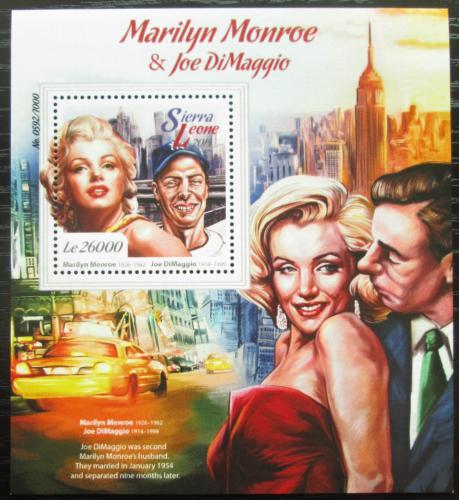 Poštovní známka Sierra Leone 2015 Marilyn Monroe a J. DiMaggio Mi# Block 891 Kat 12€