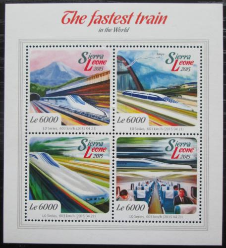 Poštovní známky Sierra Leone 2015 Nejrychlejší vlaky svìta Mi# 6158-61 Kat 11€