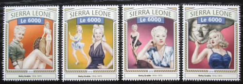 Poštovní známky Sierra Leone 2016 Betty Grable, hereèka Mi# 7753-56 Kat 11€