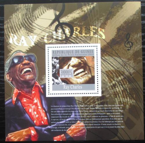 Poštovní známka Guinea 2010 Ray Charles, jazz Mi# Block 1808 Kat 10€