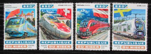 Poštovní známky Niger 2016 Evropské moderní lokomotivy Mi# 4647-50 Kat 13€