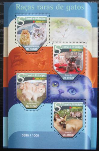 Poštovní známky Svatý Tomáš 2015 Vzácné koèky Mi# 6425-28 Kat 12€