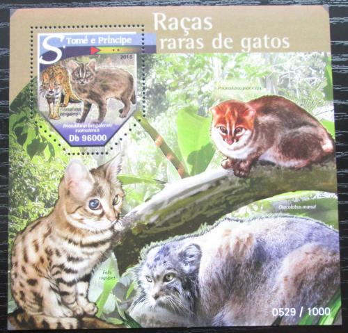 Poštovní známka Svatý Tomáš 2015 Vzácné koèky Mi# Block 1138 Kat 10€
