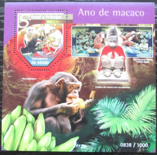Poštovní známka Svatý Tomáš 2015 Rok opice Mi# Block 1139 Kat 10€