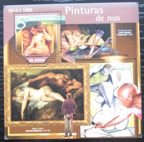 Poštovní známka Svatý Tomáš 2015 Umìní, akty Mi# Block 1146 Kat 10€