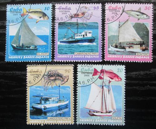 Poštovní známky Kuba 2005 Rybáøské lodì a moøská fauna Mi# 4706-10