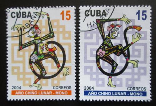 Poštovní známky Kuba 2004 Èínský nový rok, rok opice Mi# 4578-79